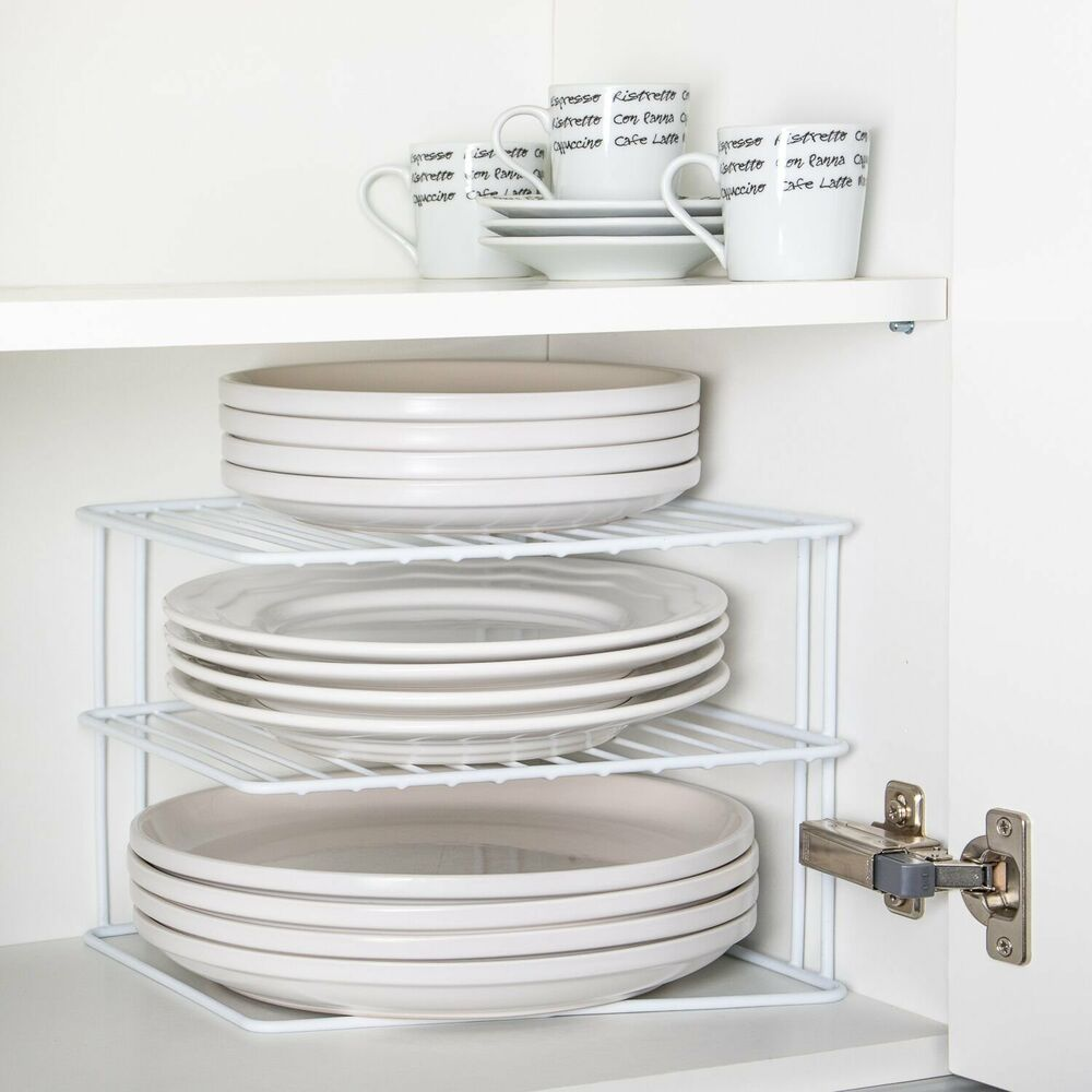 Kitchen Cabinets Plate Rack: Wire Add A Shelf Corner Plate Rack. For Kitchen Cupboard