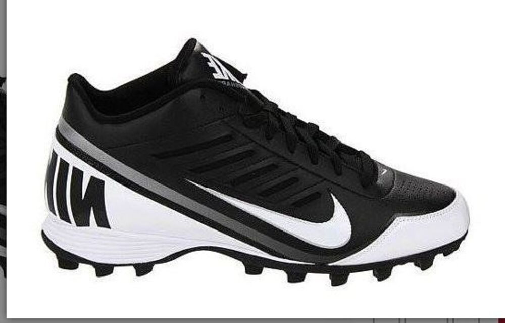 84892e5a6 Details about Men s New Black   White Nike Land Shark 3 4 Football Cleats  Size 11.5 US