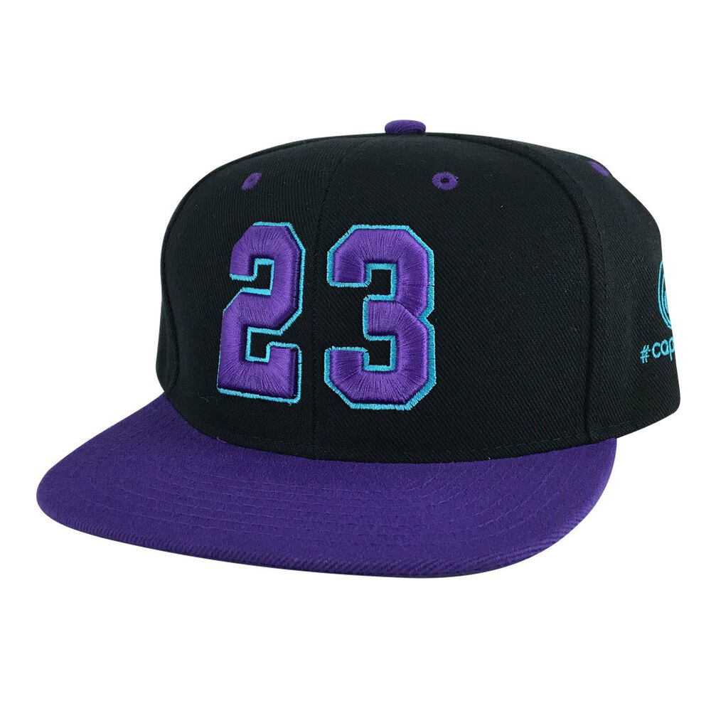 43fc2469d1a5 Details about Player Jersey Number  23 2Tone Snapback Hat Cap x Air Jordan  - Black Purple