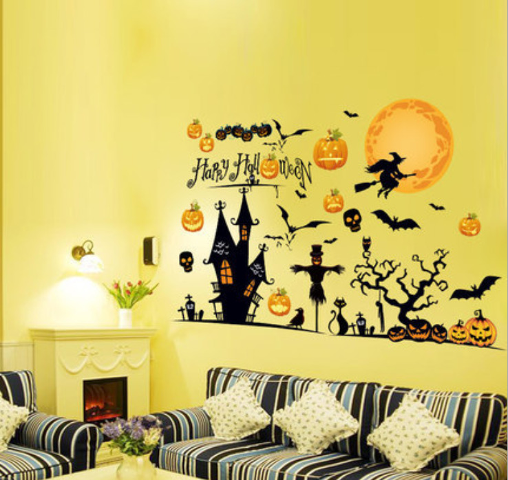 halloween pumpkin witch moon bat wall sticker home party decor wall
