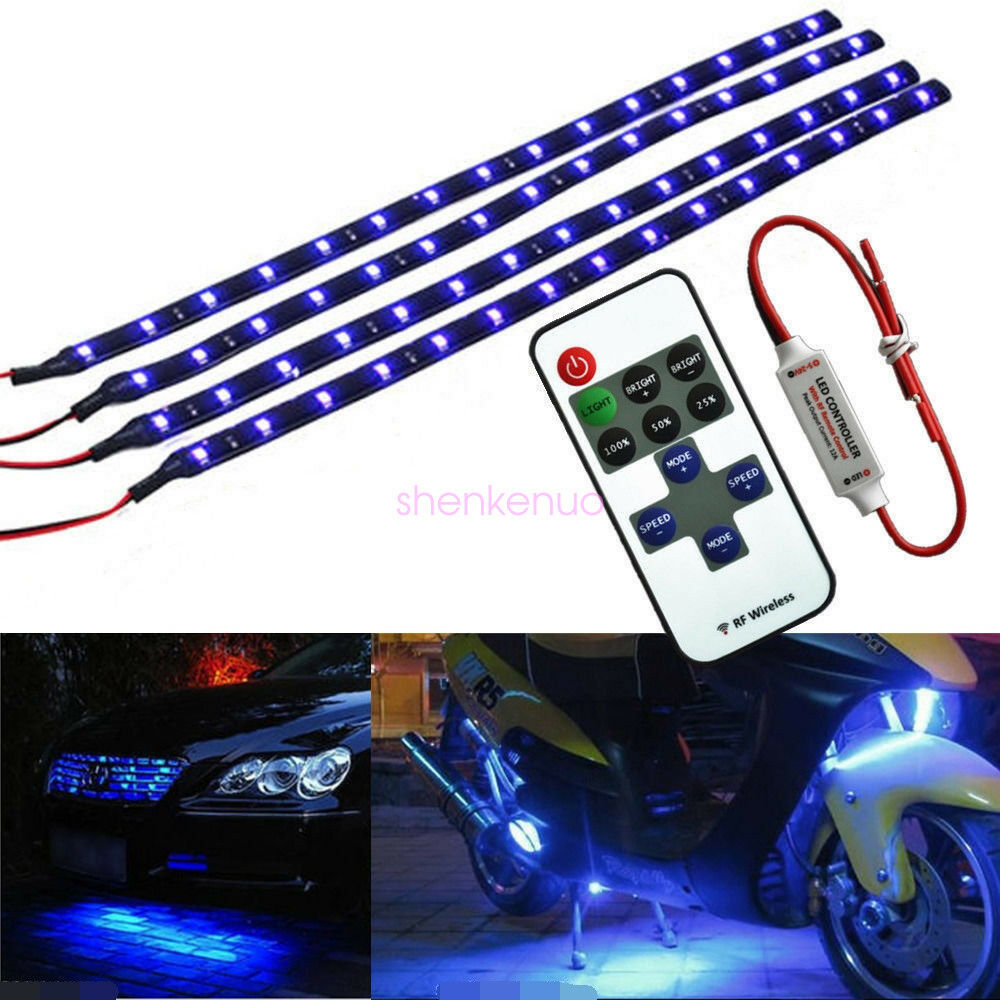 wireless blue led strip kit for boat marine car interior lighting 30cm 15led ebay. Black Bedroom Furniture Sets. Home Design Ideas