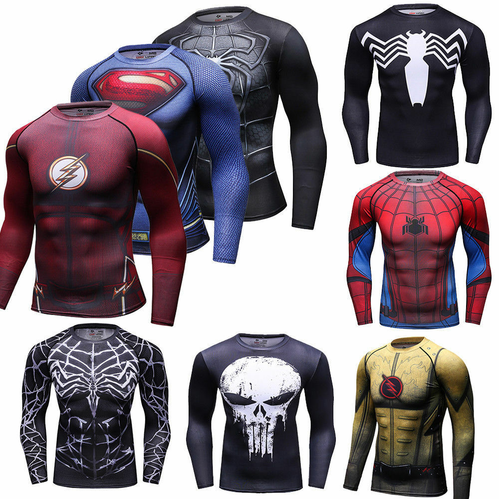 men marvel superhero t shirts compression spandex workout. Black Bedroom Furniture Sets. Home Design Ideas