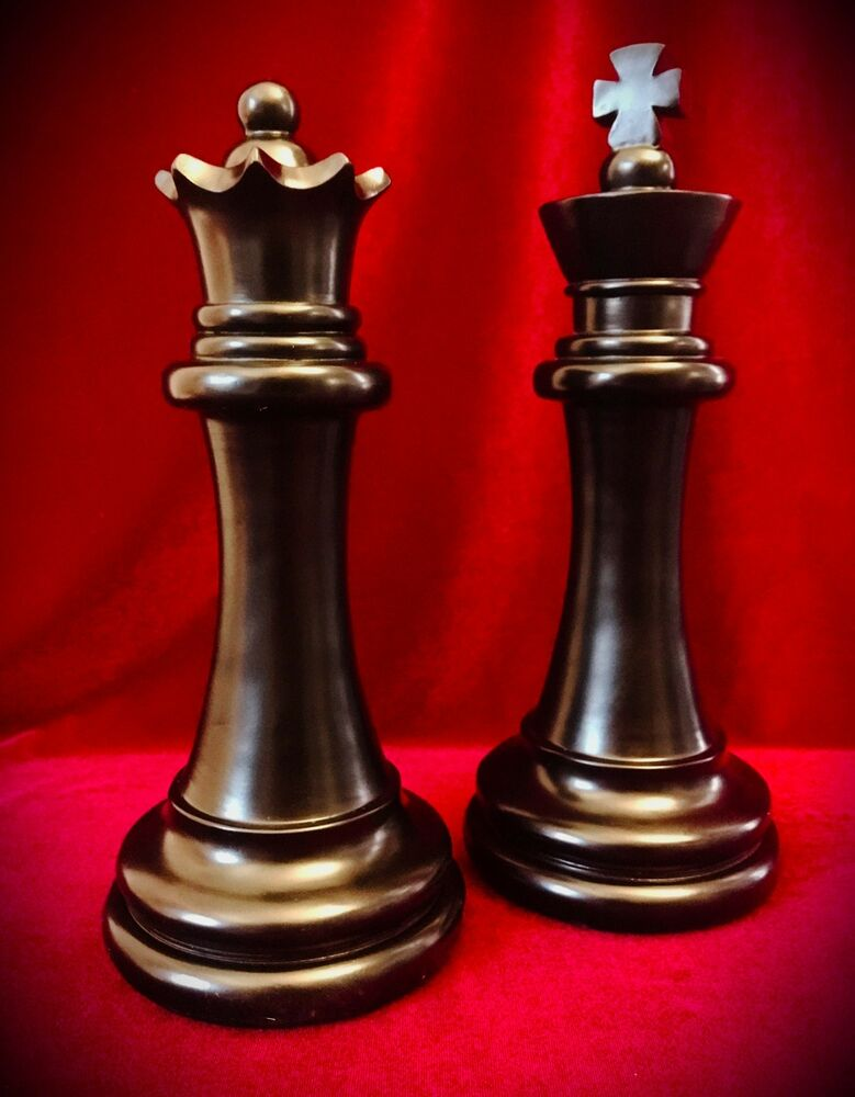 """Chess Piece Statues-Black-King & Queen-Over 11"""" Tall-Home ..."""