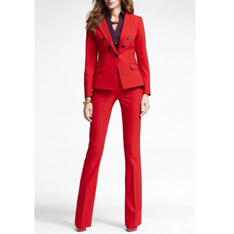 afbed537f5a5 Details about Red Office Uniform Designs Women Business Suit Double  Breasted Lady Trouser Suit