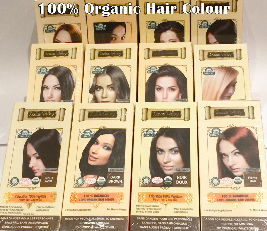 Organic Henna Hair Colour Dye Semi Perm Black Brown Red Blond 120g