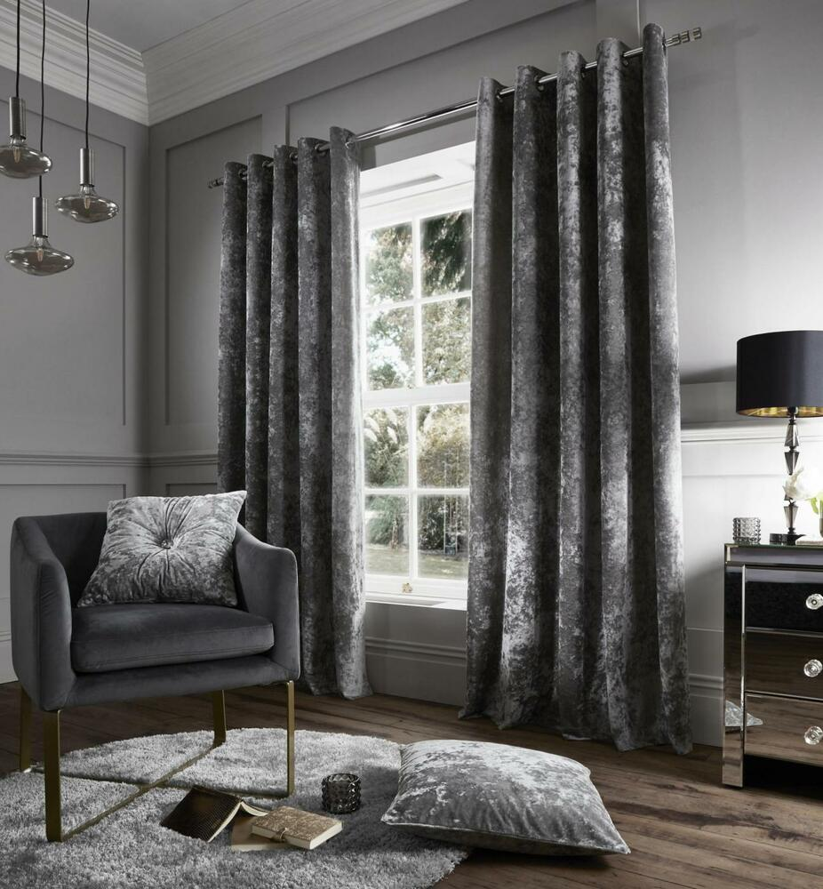 Catherine Lansfield Crushed Velvet Curtains Silver Grey