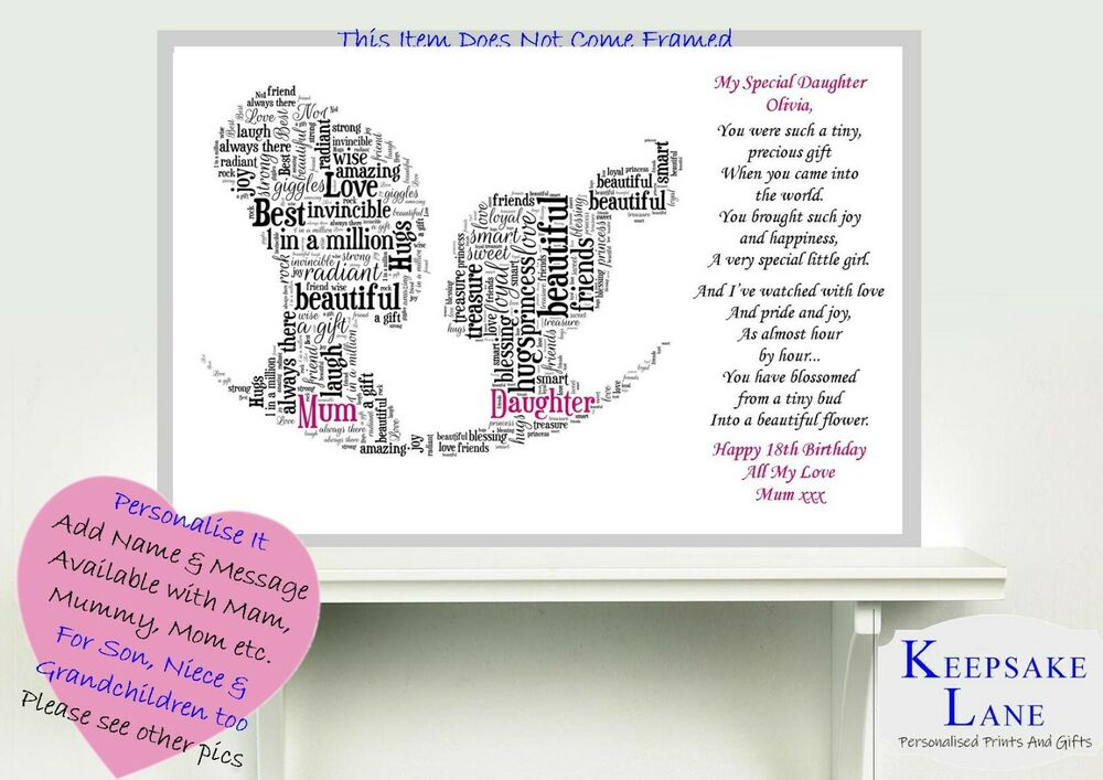 16th 18th 21st Daughter MOM Birthday Day Son Personalised Word Art Gift Keepsake