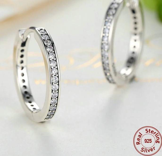2d5d09d68 Real 925 Silver Sterling Forever HOOP Sparkling EARRINGS Studs+gift  pouch+box   eBay