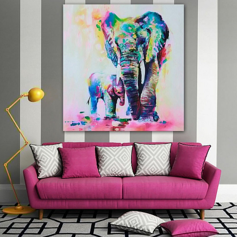 Colorful Wall Decor: Colorful Elephant Painting Canvas Wall Art Print Picture