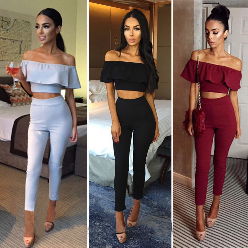 c99bd307f6f068 Details about Women Summer Casual 2PCS Outfit Ruffle Off Shoulder Crop Top  Pants Trousers Sets