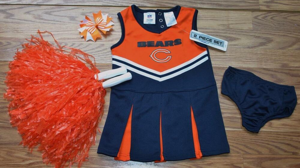New CHICAGO BEARS CHEERLEADER OUTFIT HALLOWEEN COSTUME DRESS BLOOMERS  for cheap