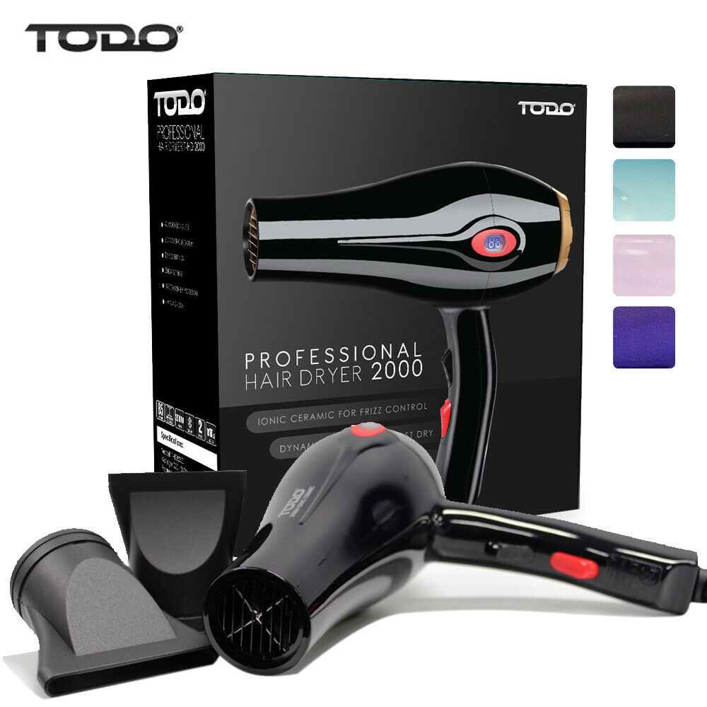Womens professional ionic conditioning colour protect hair dryer d6090 - Todo 2000w Ionic Ceramic Anti Frizz Hair Dryer Digital Temperature Lcd