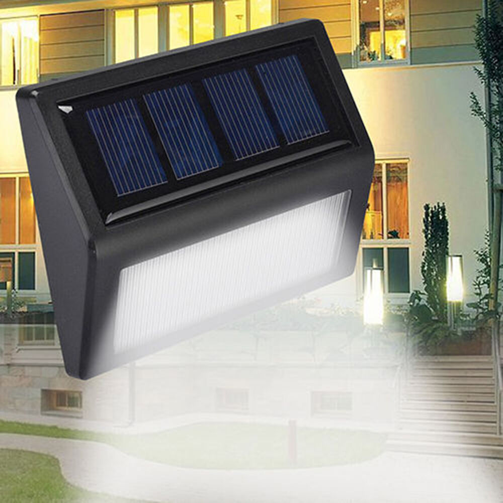 6 led sonnenenergie licht sensor wand licht im freien wasserdichte garten lampe ebay. Black Bedroom Furniture Sets. Home Design Ideas