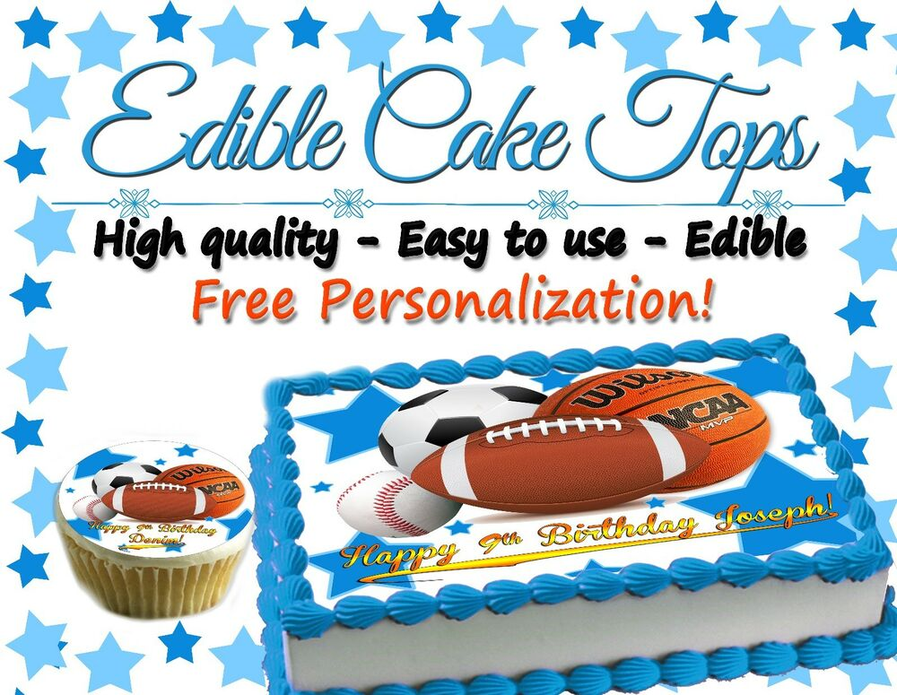 All Star Birthday Cake topper Edible paper sugar sheet Football ...