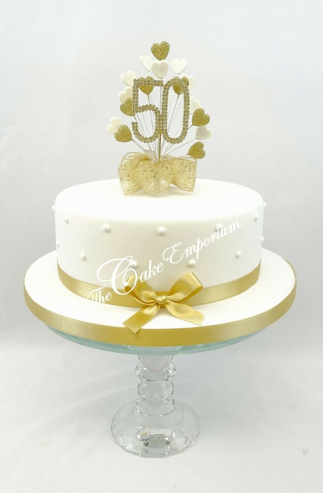 Golden 50th Wedding Anniversary Birthday Cake Topper Hearts With