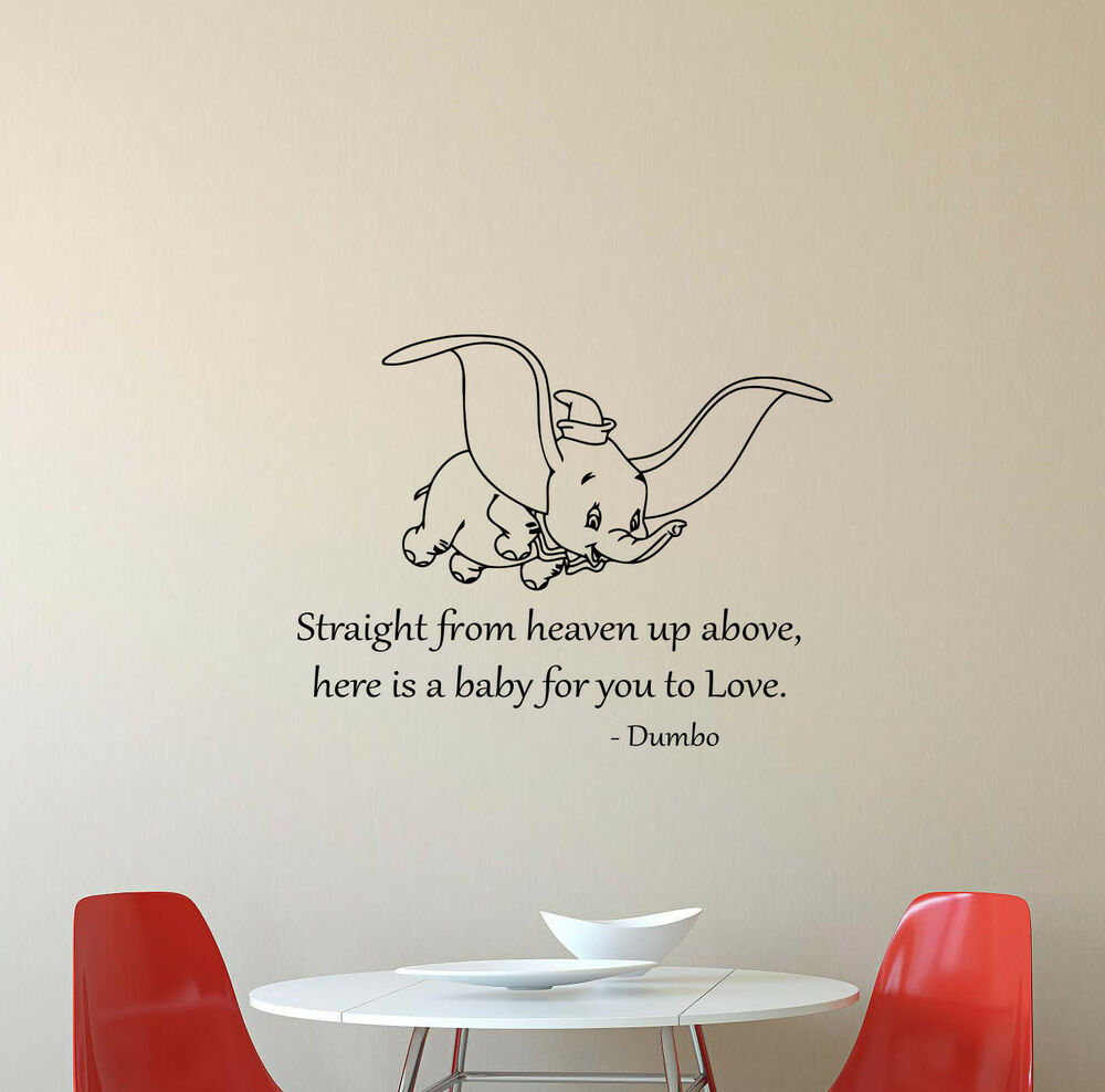 Dumbo Disney Wall Decal Quote Vinyl Sticker Poster Baby