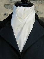 Ready Tied Plain Ivory Cotton Riding Stock - Dressage Hunting Show Tie