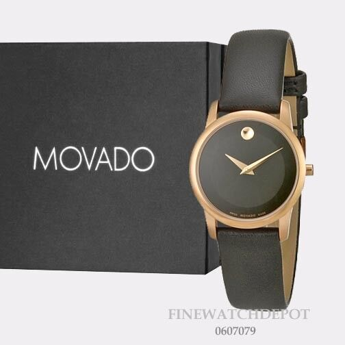 ca4dfbd3c Details about Authentic Movado Women's Swiss Museum Classic Black Leather  Watch 0607079