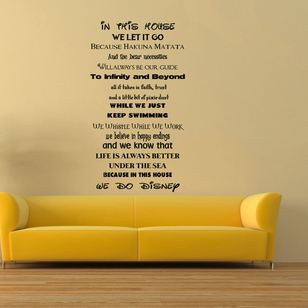 In This House We Do Disney Style Quote Rules Wall Art Stickers ...