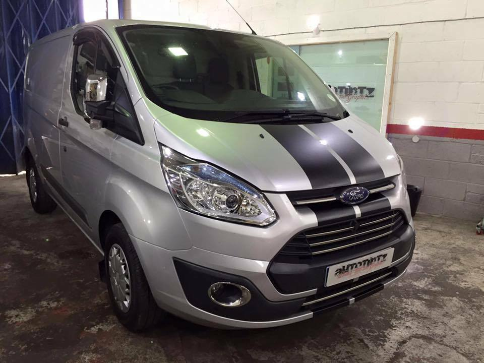 ford transit custom st sport bonnet stripes vinyl graphics decals ebay. Black Bedroom Furniture Sets. Home Design Ideas