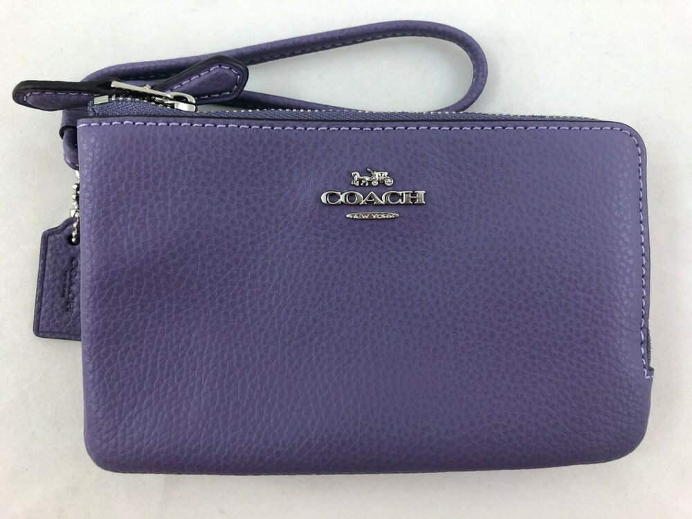 f1b2fd2a20b1 Details about New Authentic Coach F87590 Leather Double Corner Zip Wristlet  Light Purple