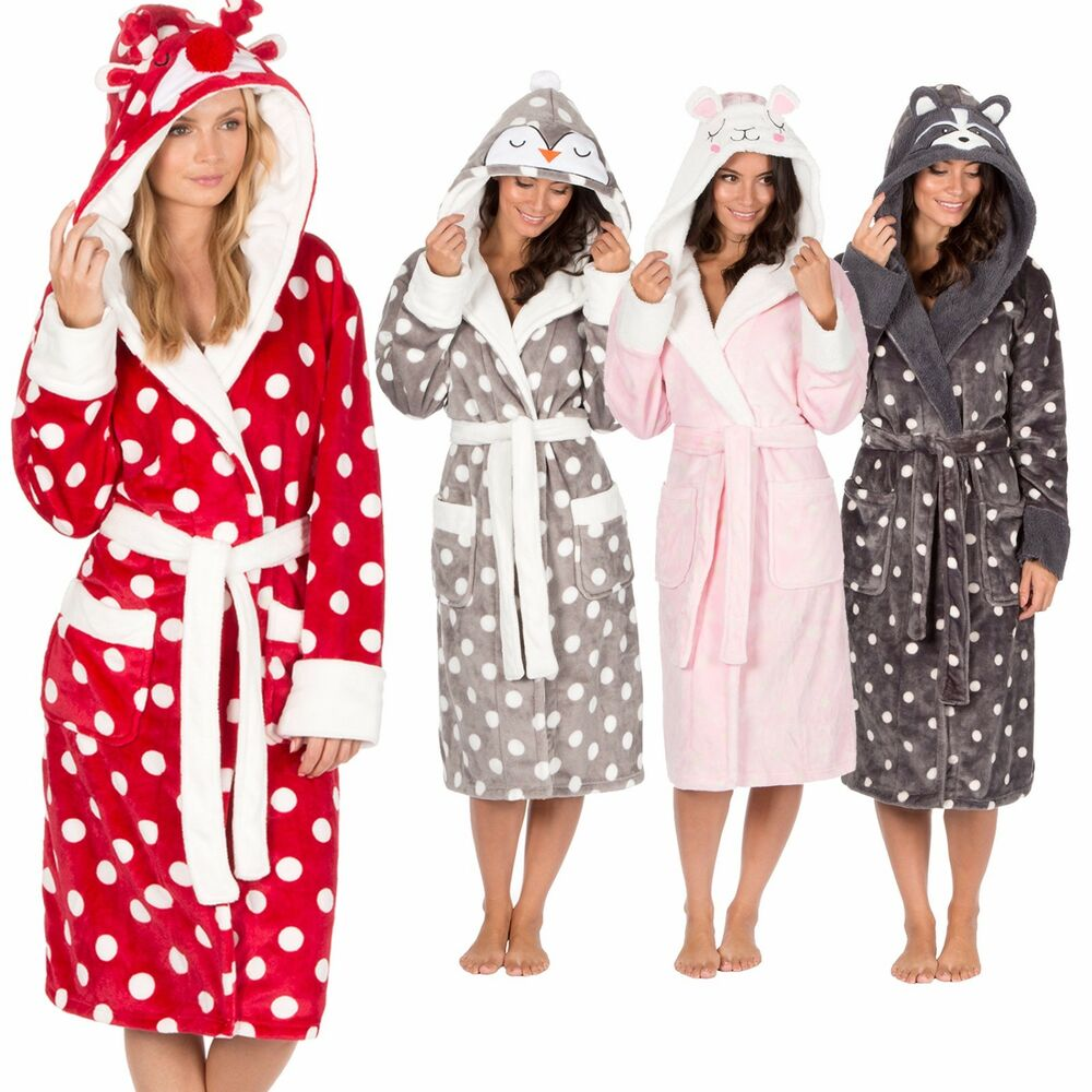 Dressing Gowns And Robes: Ladies Womens Animal Hooded Robe Dressing Gown Winter Warm