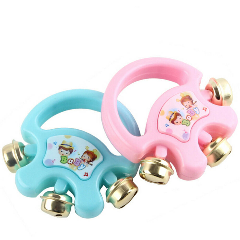 Bell Musical Toys : Kids hand shaking bells musical rattle handbell