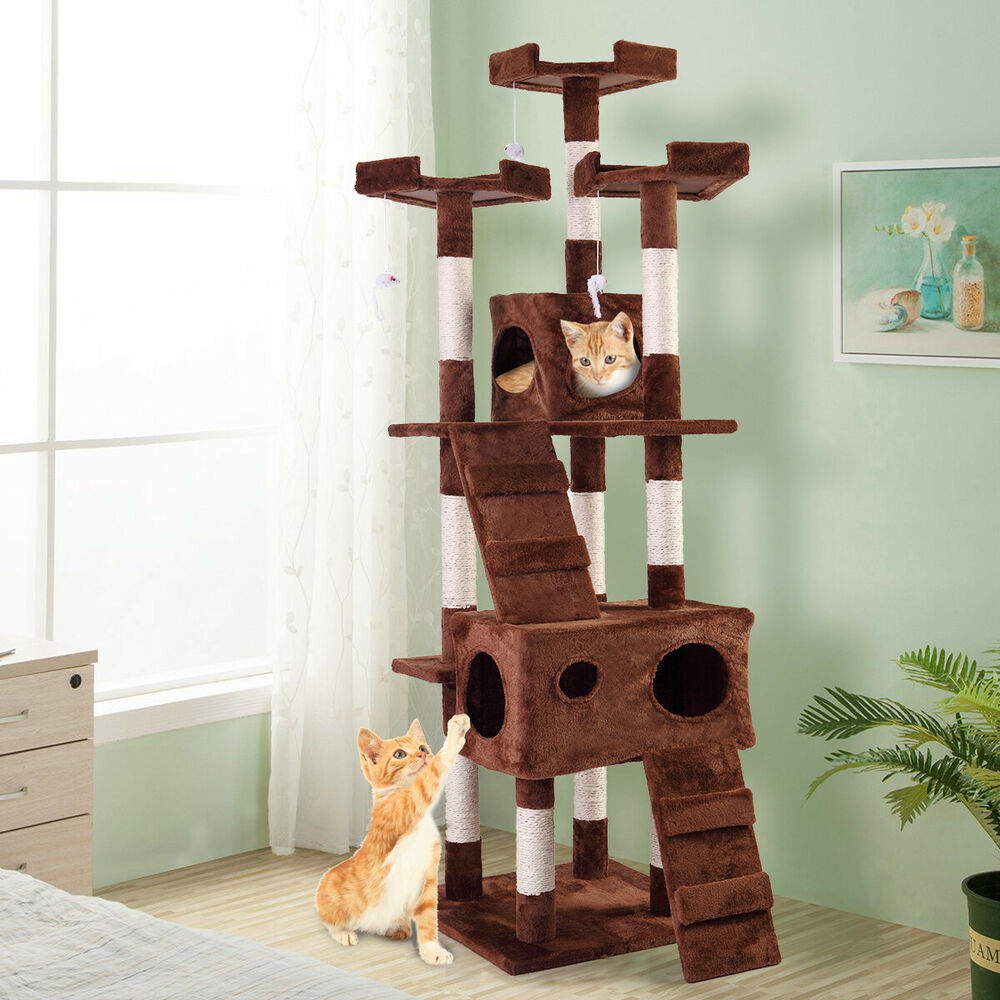 """67"""" Pet Cat Tree Play House Tower Condo Bed Scratch Post"""