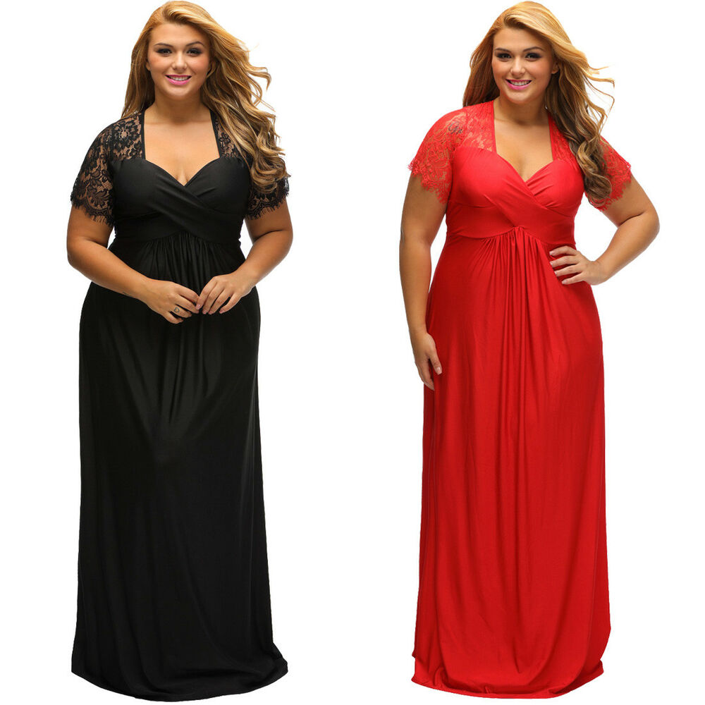 USA Plus Size Women Short Sleeve Black Red Lace Cocktail ...
