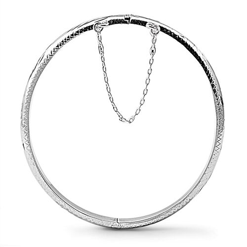 925 Sterling Silver Hinged Bangle Bracelet With Safety Chain