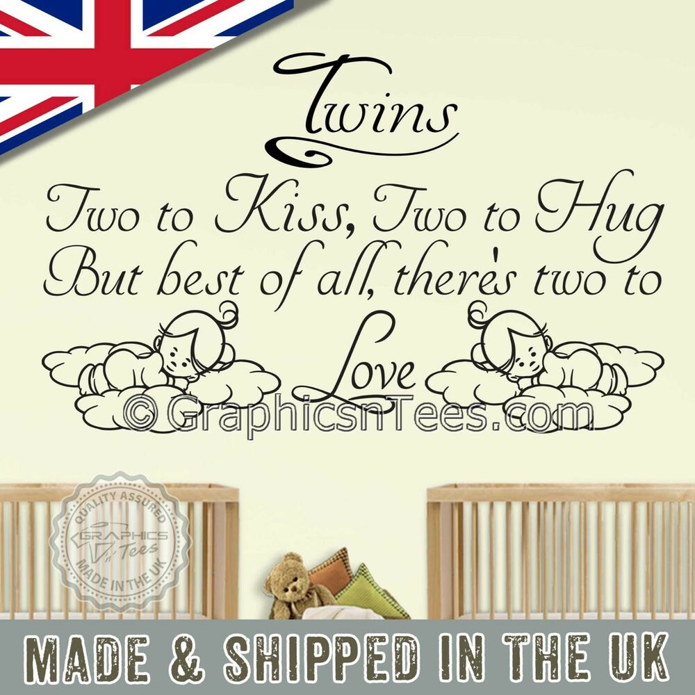 Nursery Wall Stickers For Twins Baby Boys Girls Bedroom Wall Quote