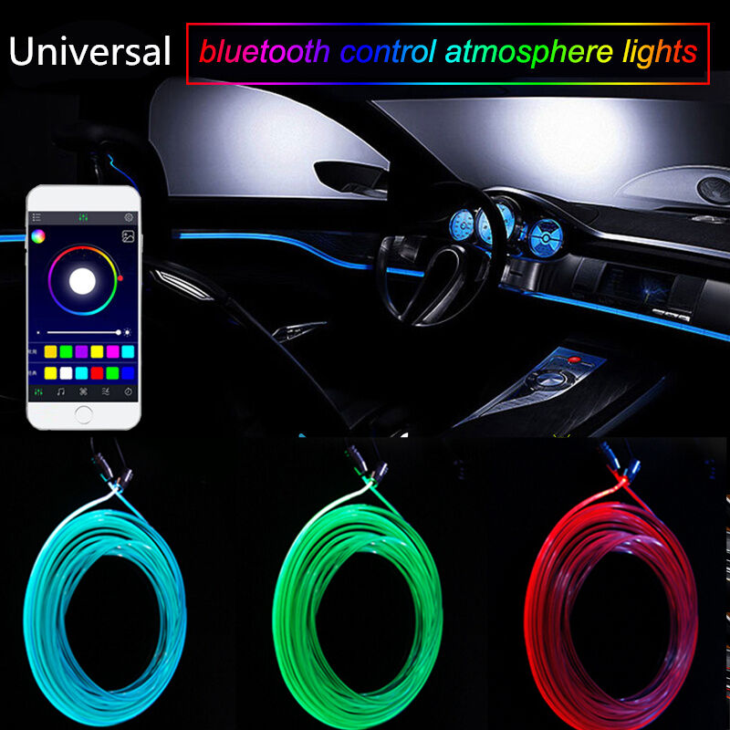 RGB Light LED Car Interior Neon Strip Light Sound Active Bluetooth Phone Control | eBay