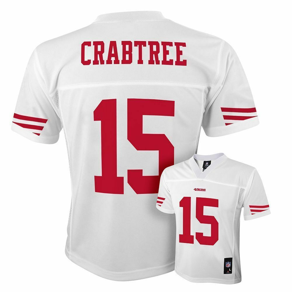 a2cfda2ad Details about Michael Crabtree  15 San Francisco 49ers Youth 8 - 20 White NFL  Jersey
