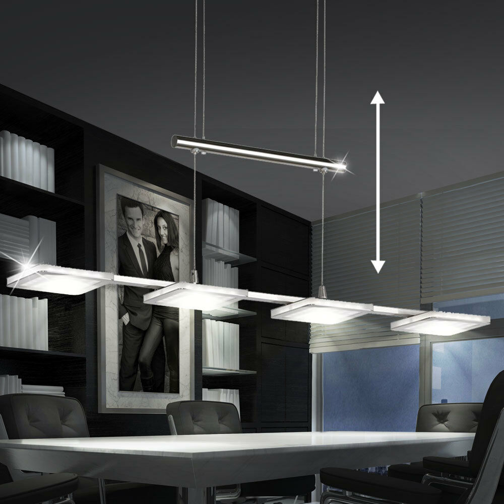 24w led esszimmer decken h nge leuchte pendel lampe silber verstellbar dimmbar ebay. Black Bedroom Furniture Sets. Home Design Ideas