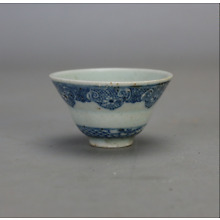 old chinese beautiful Ming dyn Wanli blue and white porcelain tea cup b11