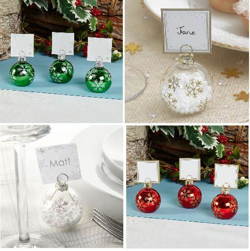 Holiday Place Settings: 6 BAUBLE PLACE CARD HOLDERS OR 10 PLACE CARDS, CHRISTMAS