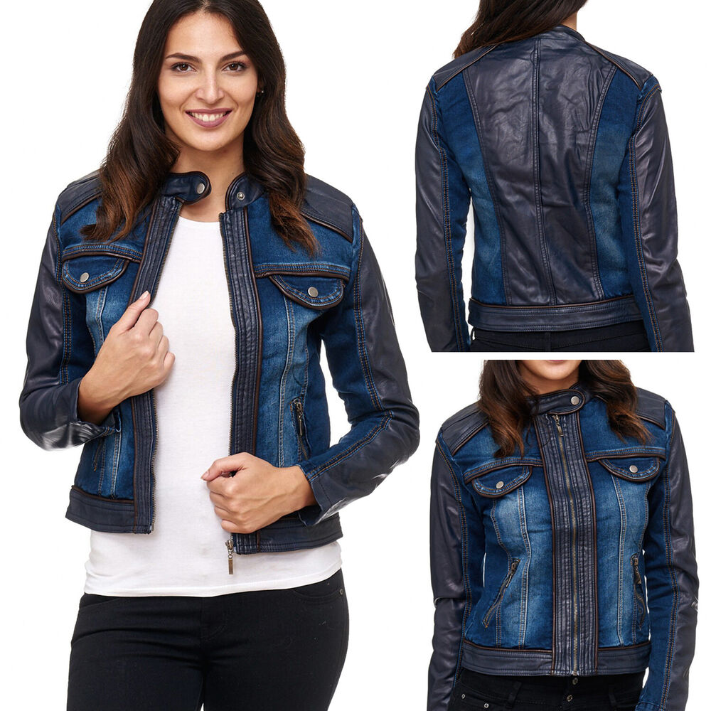 damen biker lederjacke blogger jeansjacke denim bergangsjacke kurz weste leder ebay. Black Bedroom Furniture Sets. Home Design Ideas
