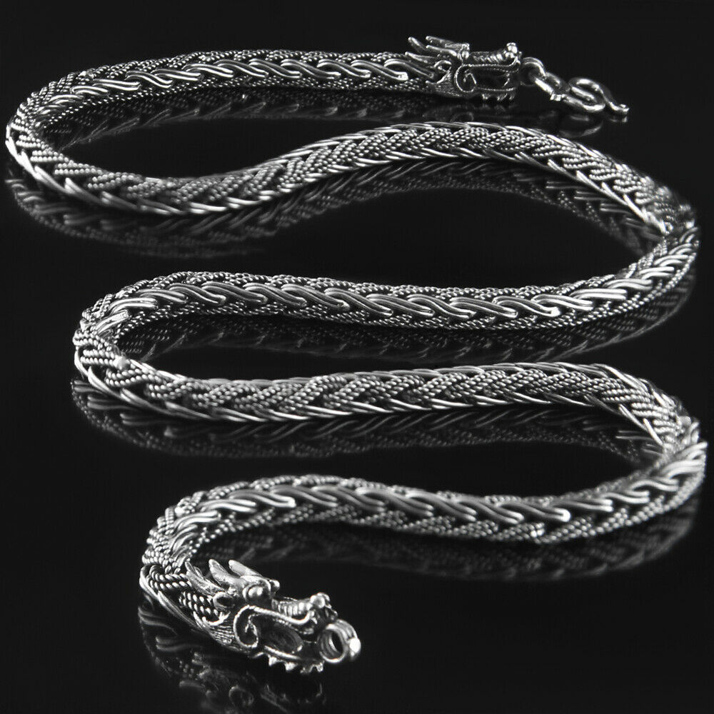 dragon 925 solid sterling silver necklace rope chain men. Black Bedroom Furniture Sets. Home Design Ideas