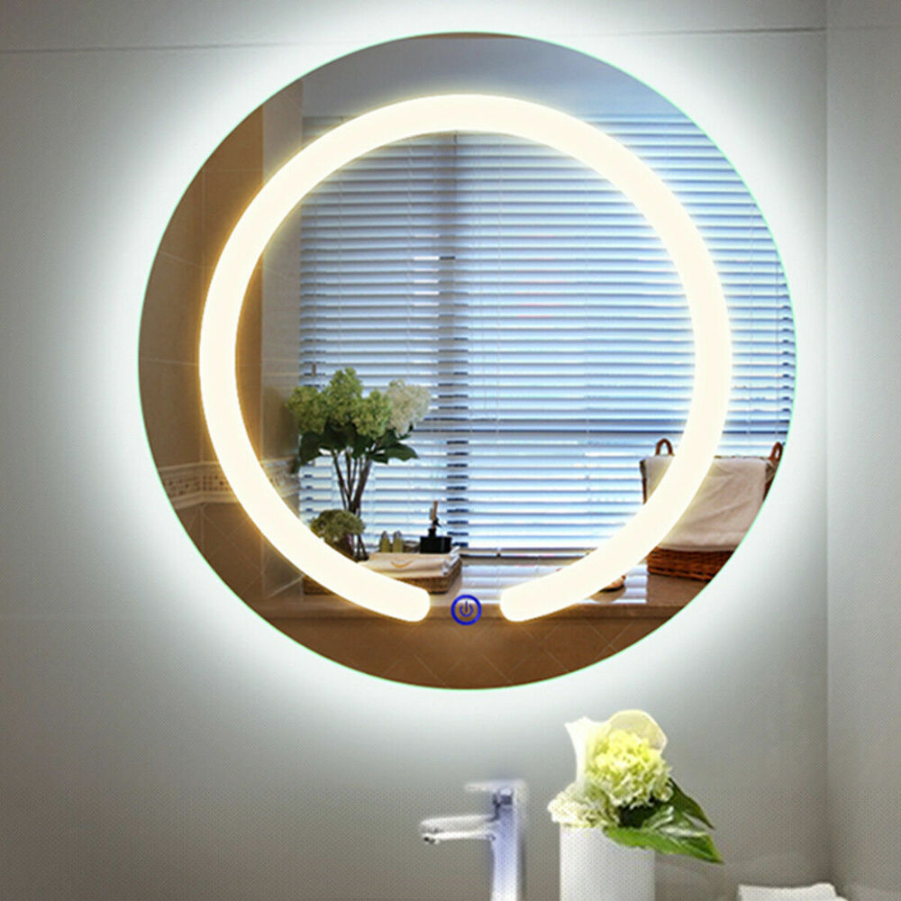 "Illuminated Mirrors Bathroom: 20"" Round LED Mirror Illuminated Light Wall Mount Bathroom"