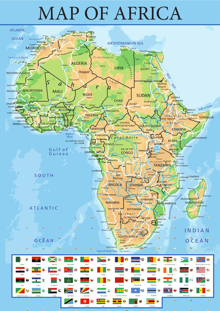 Map Of Africa With Flags.Map Of Africa With Flags From A5 To A0 Size Poster Education Aid