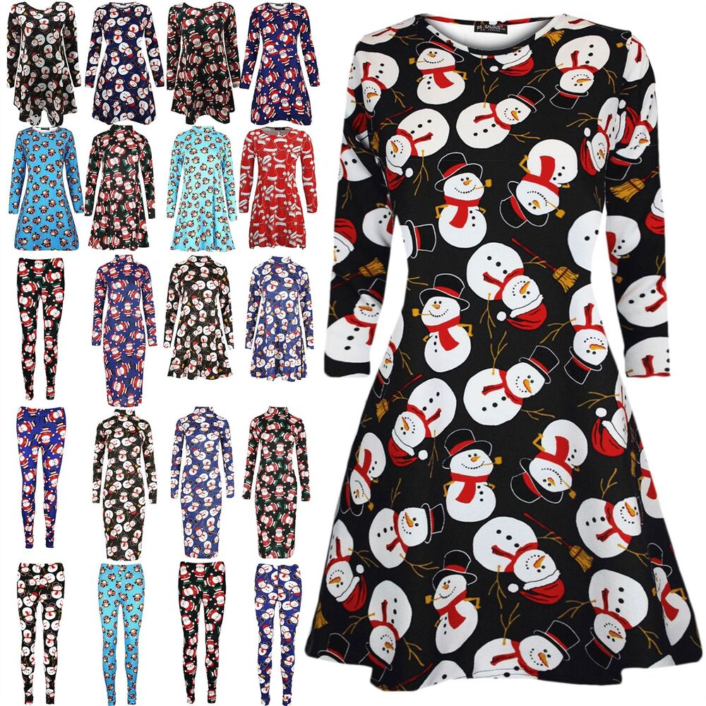 f2ff623fcfde Details about Womens Santa Reindeer Rudolph Ladies Gifts Snowman Christmas  Skater Swing Dress