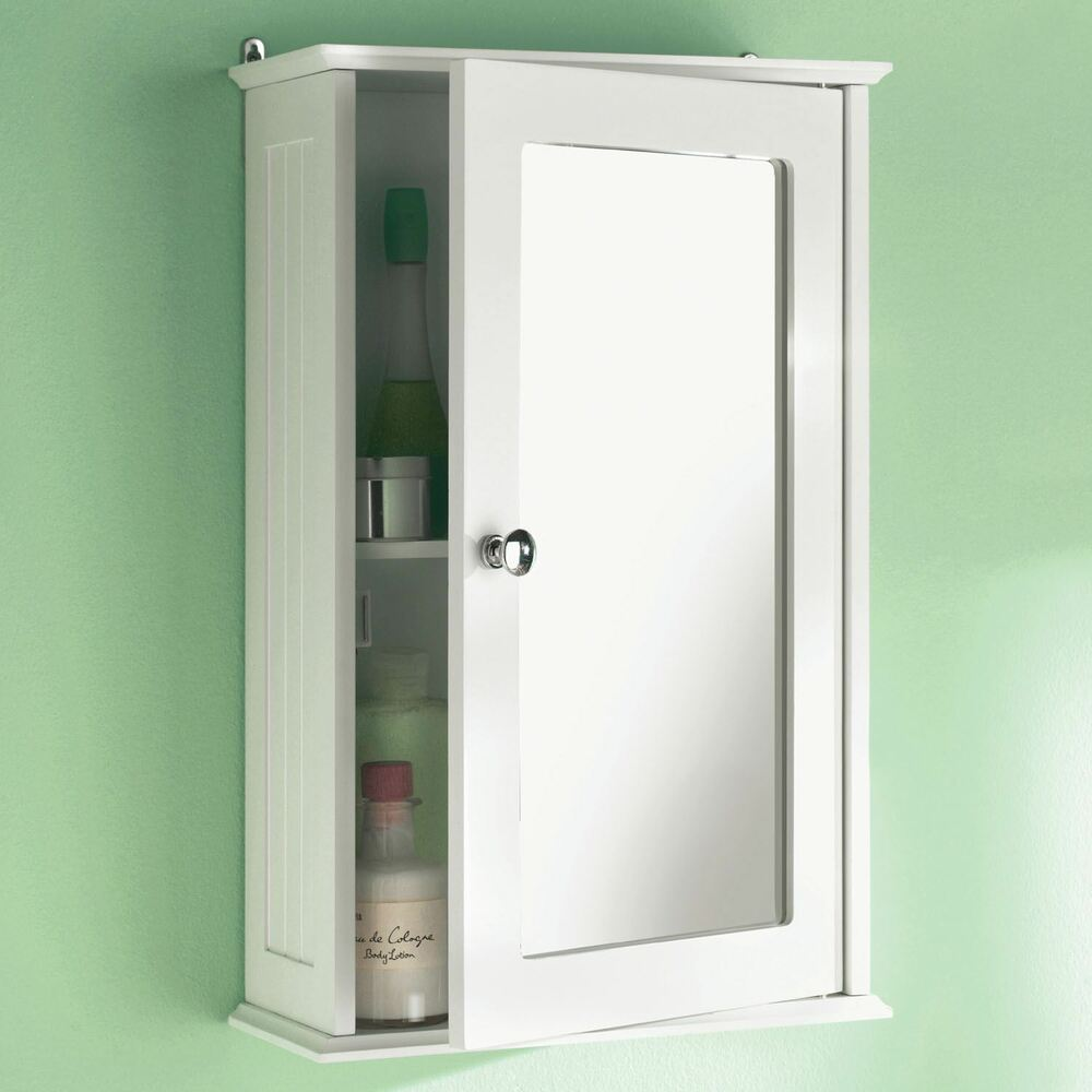 Wall Mounted Bathroom Wall Cabinet Single Mirror Door Cupboard White Wooden New Ebay