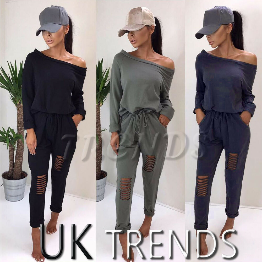 cf52251c50 UK Womens One Off Shoulder Ripped Knees Trousers Lounge Ladies Party  Jumpsuits