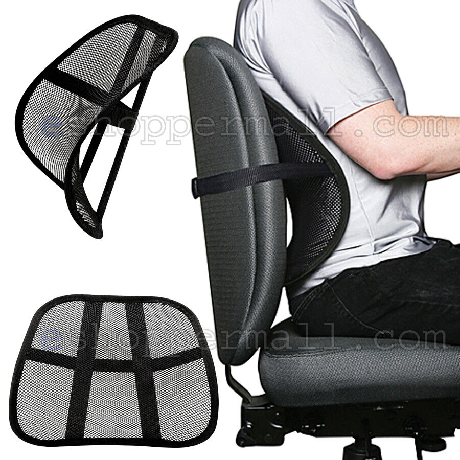 cool mesh back lumbar support vent cushion car office chair truck seat black ebay. Black Bedroom Furniture Sets. Home Design Ideas