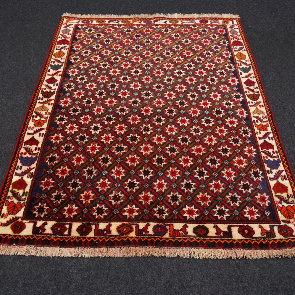 orient teppich rot 144 x 113 cm beige sterne perserteppich handgekn pft carpet ebay. Black Bedroom Furniture Sets. Home Design Ideas
