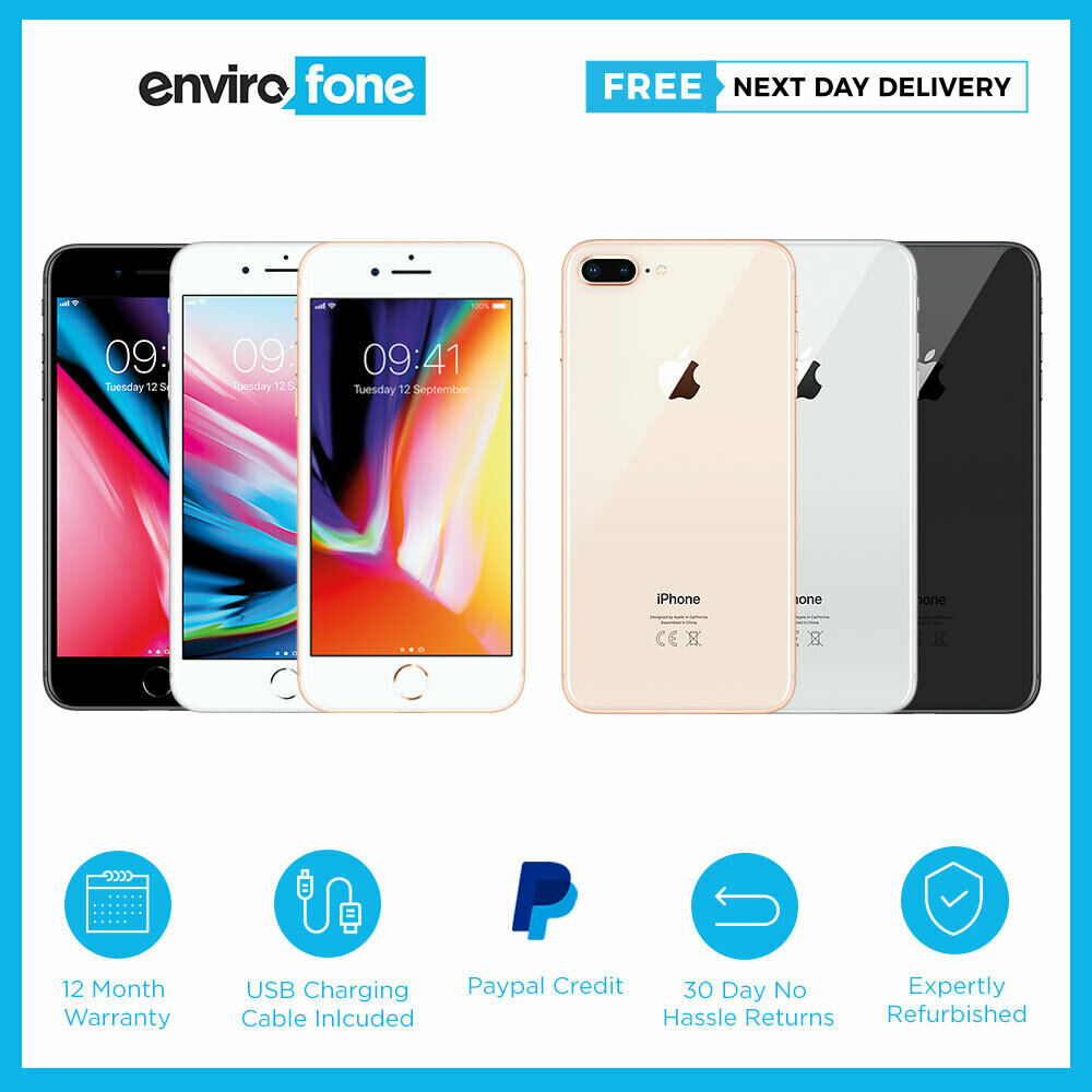 apple iphone 8 plus 64gb 256gb various colours unlocked. Black Bedroom Furniture Sets. Home Design Ideas