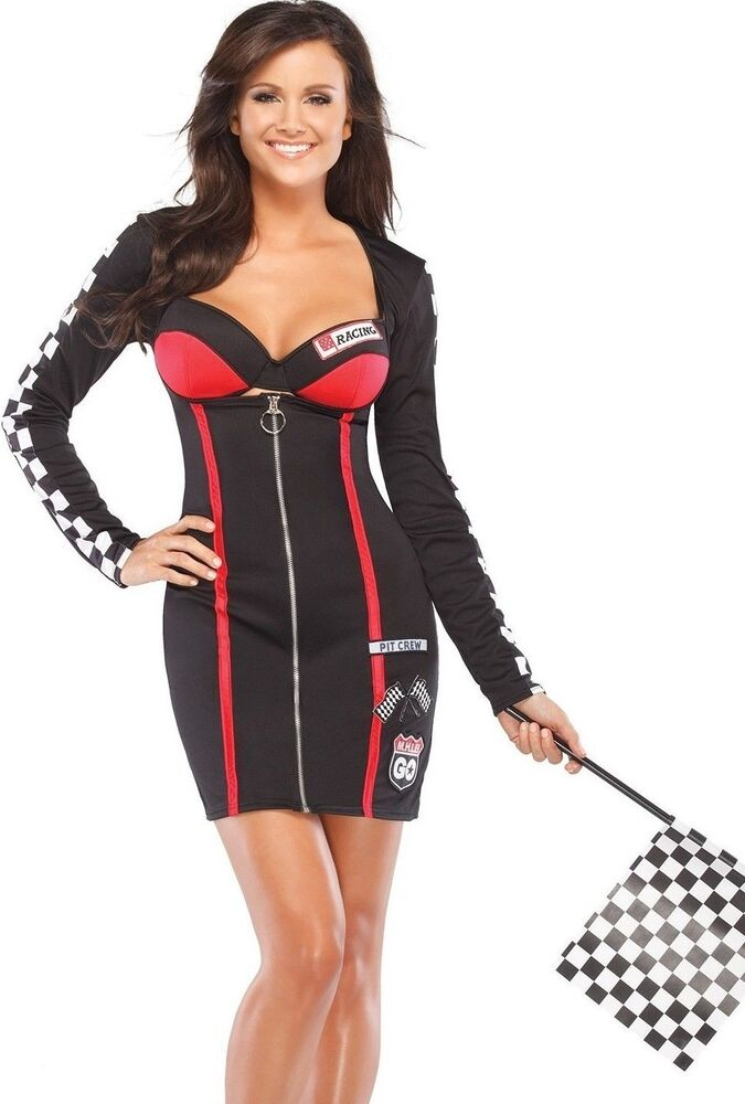 Details about Womens Race Car Driver Costume Suit Racer Small Medium S/M  Halloween Adult NEW