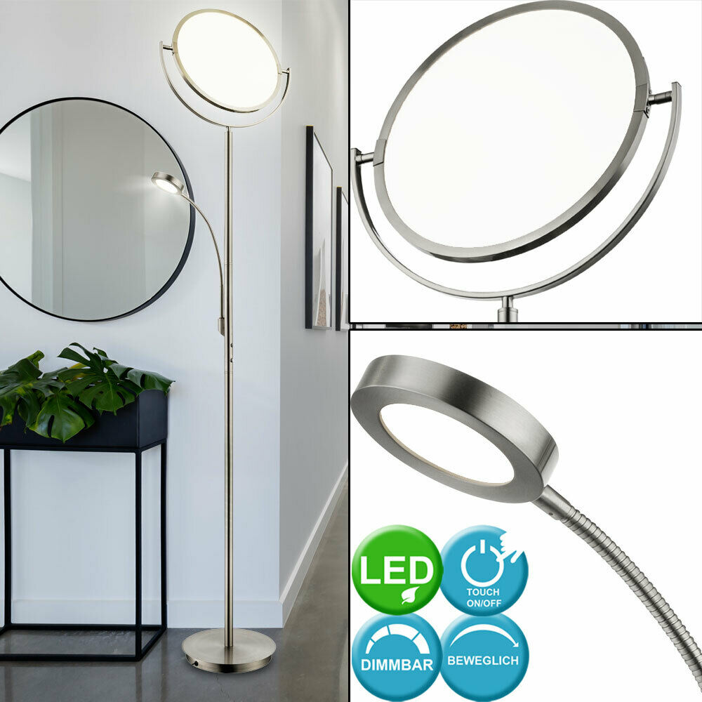 led stand lampe wohnzimmer lese leuchte touch dimmbar deckenfluter verstellbar ebay. Black Bedroom Furniture Sets. Home Design Ideas