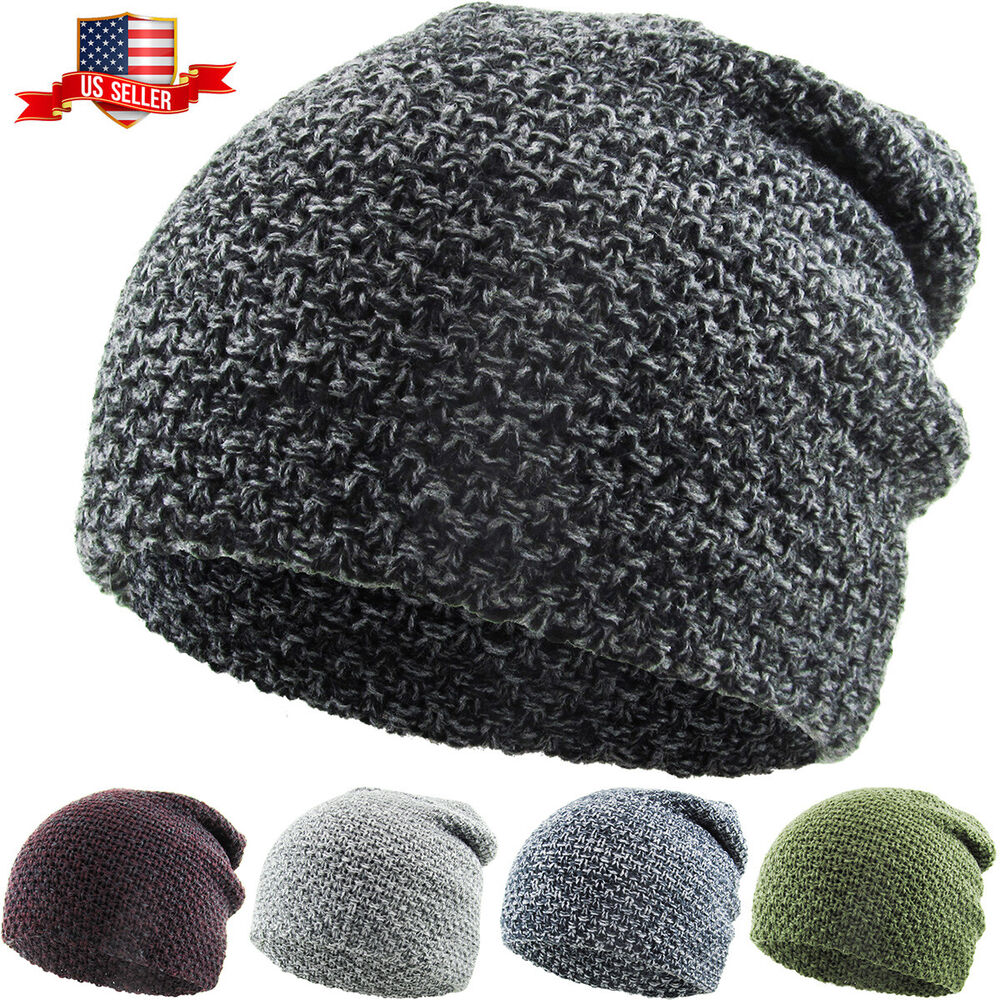 5d3708fd0df Details about Waffle Knit Slouchy Beanie Baggy Style Skull Cap Winter  Unisex Ski Hat