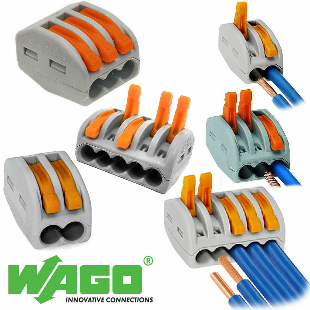 Wago 222 Electrical Connectors Wire Block Clamp Terminal Cable 12v Connector Wiring Regulations 240v Reusable Ebay
